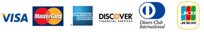 Visa, MasterCard, American Express, Diners Club, JCB and Discover accepted